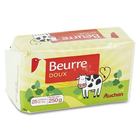 BEURRE DOUX GASTRONOMIQUE AUCHAN 250G